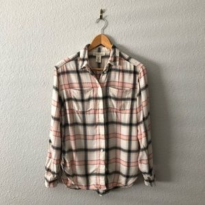 H&M L.O.G.G. Pink Black Plaid Button Up Top